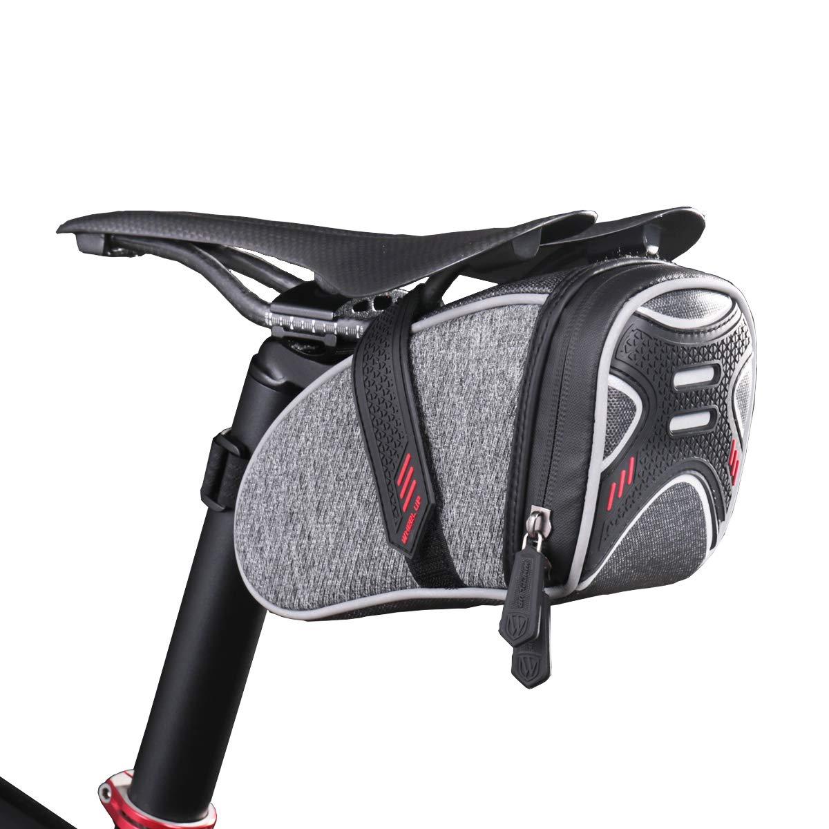 WHEEL UP Strap-On Bike Bag Under Seat Pack Waterproof Wedge Saddle Bag/Seat Bag for Cycling (Grey Nylon)