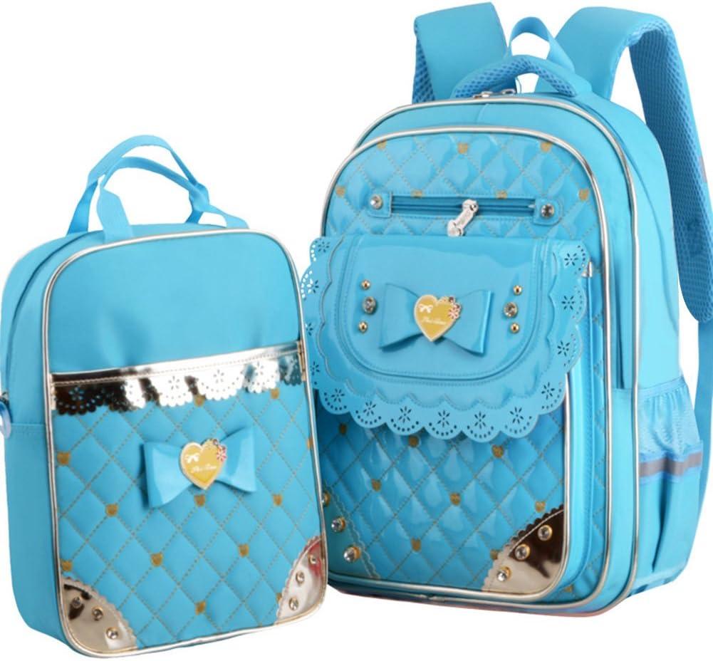 Fanci 2Pcs Bowknot Waterproof Nylon Elementary School Bookbag for Girls Primary School Backpack Set with Lunch Kit