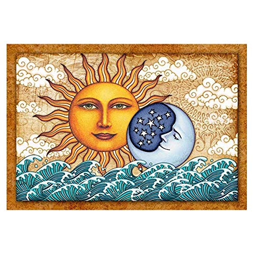 YOMIA DIY Ocean Wave Diamond Painting Cross Stitch Kits, 5D Crystal Rhinestone Diamond Moon and Sun Face Embroidery Patterns Diamond Stitch Kit Decorating Wall Stickers