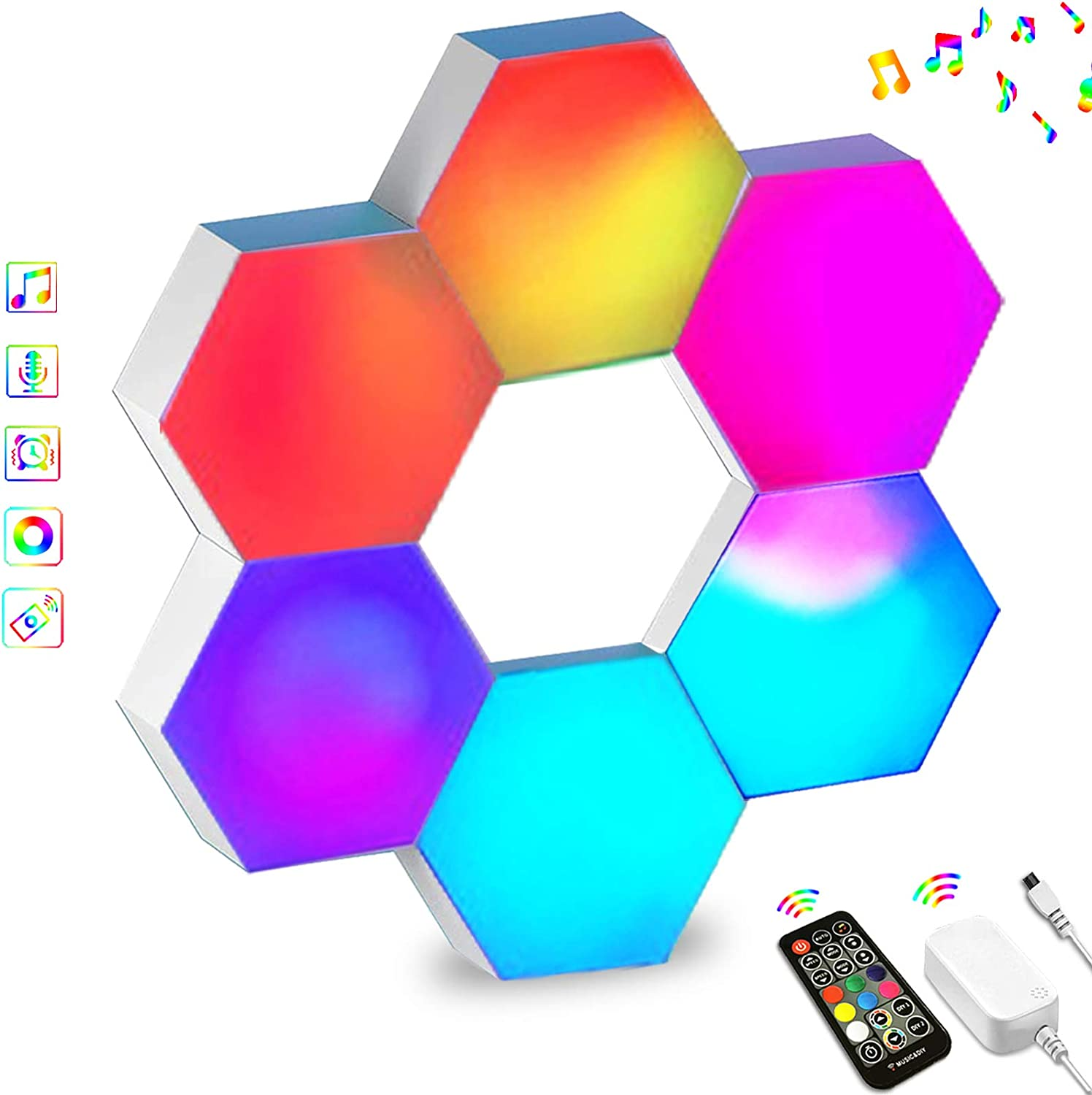 Hexagon Lights RGB Sync with Music, Smart LED Wall Lights with RF Remote Built-in Mic,16 Million Colors Modular Light Panels DIY Geometry Splicing Night Light for Gaming Setup/Bedroom/Bar/Cafe, 6 Pack