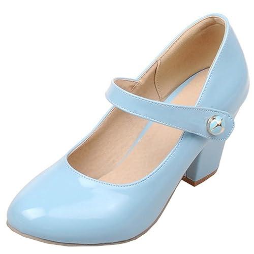 2e7d3aa1887007 Atyche Damen Mary Jane High Heels Riemchen Pumps mit Klettverschluss und  Blockabsatz Rockabilly Lack Schuhe  Amazon.de  Schuhe   Handtaschen