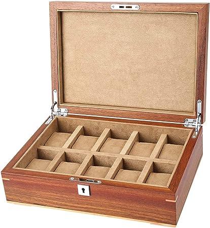 10 Caja de Reloj Colección de Joyas Organizador Bandeja de Pulsera de Madera Vitrina con Tapa de Cristal y 10 Almohadas de Almacenamiento de eliminación, Cerradura de Metal: Amazon.es: Hogar