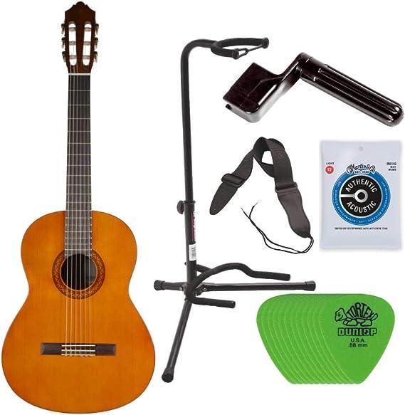 Yamaha C40 - Cuerdas de nailon para guitarra clásica + soporte para guitarra, cuerdas de guitarra Yamaha, cuerda de cuerda, correa de guitarra y púas de guitarra: Amazon.es: Instrumentos musicales