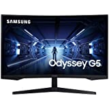 SAMSUNG 32-Inch Odyssey G5 Gaming Monitor with 1000R Curved Screen, 144Hz, 1ms, FreeSync Premium, QHD (LC32G55TQWNXZA), Black