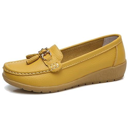 Moonwalker Mocasines Comodos para Mujer con Borlas en Cuero y con Agujeros: Amazon.es: Zapatos y complementos