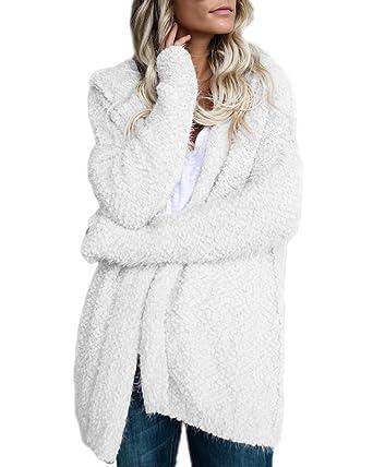 Minetom Femme Décontracté Manches Longues Tricoté Cardigan Ouvert Couleur  Unie Manteau Mode Veste à Capuche Chandails f21e82bd0ea5