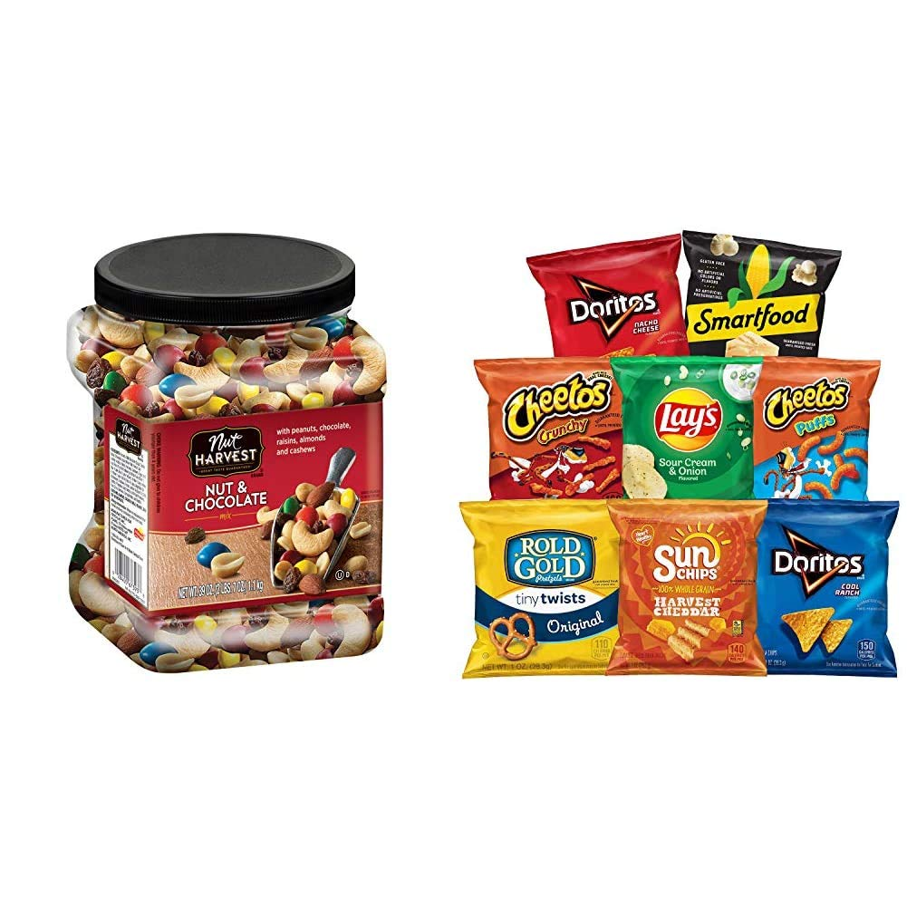 Nut Harvest Nut & Chocolate Mix, 39 Ounce Jar & Frito-Lay Fun Times Mix Variety Pack, 40 Count