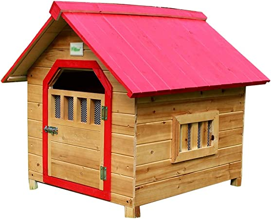 Caseta del perro Caseta para mascotas Casa del gato Jaula cubierta de madera maciza para gatos