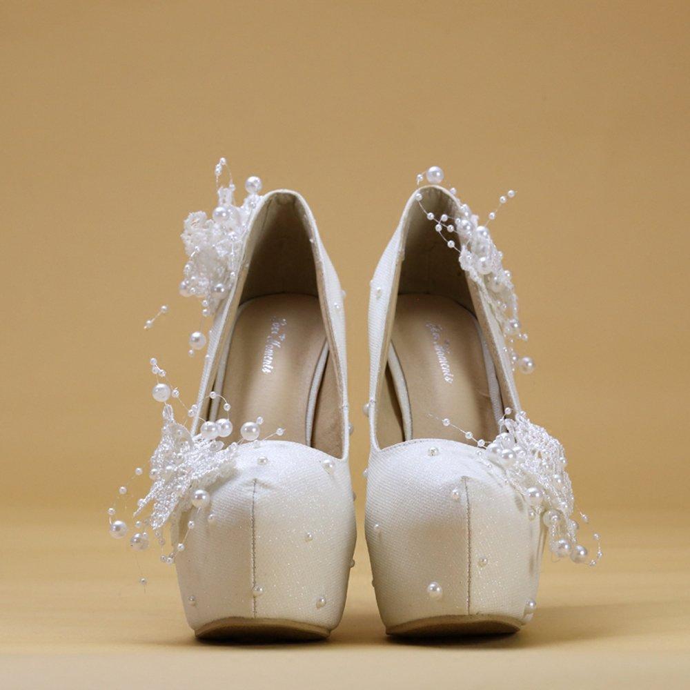 Damens Es High Heels PU Lace Sexy Flachen Mund Heels Runde Zehen Stiletto Heels Mund Sandalen Brautjungfer Schuhe Braut Hochzeit Schuhe Pumps Weiße Ferse Hoch 14 Cm - 8139be