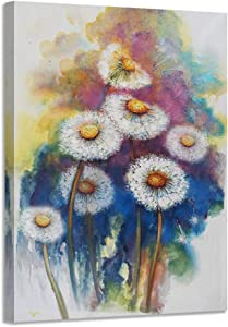Acocifi Dandelion Canvas Wall Art Simple Life Flowers Painting Modern Watercolor Florals Picture Prints Artwork Framed Ready to Hang for Bedroom Bathroom Home and Office Decor- 12