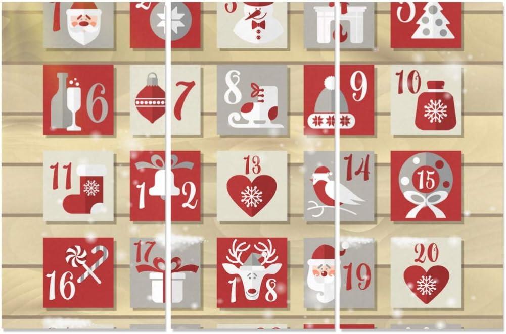 Amazon Com Wutmving 3 Panel Print Canvas Cute Christmas Advent Calendar Cheap Wall Decor Painting Art Prints For Home Living Room Bedroom Bathroom Posters