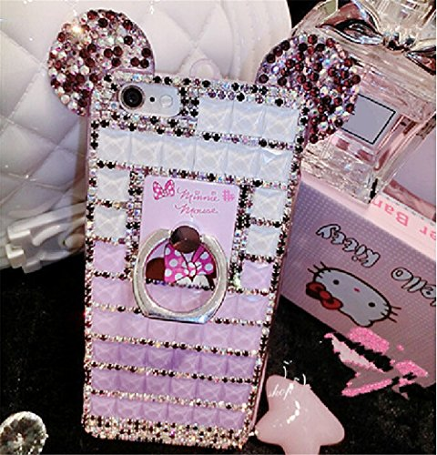 Bling Samsung Galaxy S8 Plus Diamond Case With Chain,Chanyaozy[DIY][Luxury][Stand]Glitter Diamond Mouse Ears Soft Rubber Case For Samsung S8+ 6.2 Inch (Purple With Ring Holder)