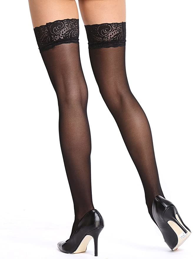 01785315c81b8 Amazon.com: Amoretu Silky Sheer Thigh High Stockings with Lace Top: Clothing