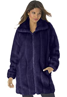 649ea1042d1 Roamans Women s Plus Size Shawl Collar Faux-Fur Coat at Amazon ...
