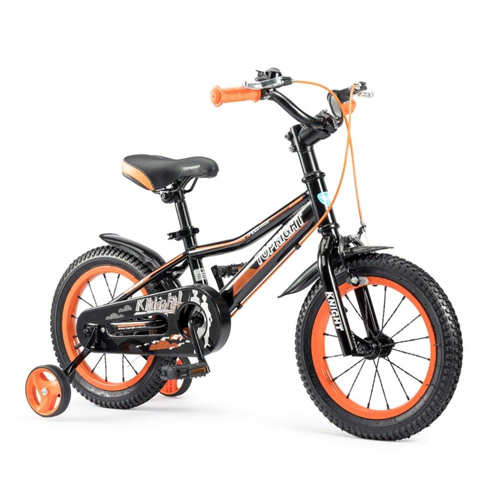 YANGFEI 子ども用自転車 子供用の自転車、トレーニングホイール付きユニセックス子供用自転車、様々なトレンディな機能、12,14,16および18インチ、おしゃれな男の子と女の子のための贈り物 212歳 B07DWT467P 18 inch|Black+Orange Black+Orange 18 inch