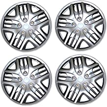 TuningPros WSC3-025S15 4pcs Set Snap-On Type (Pop-On) 15-Inches Metallic Silver Hubcaps Wheel Cover