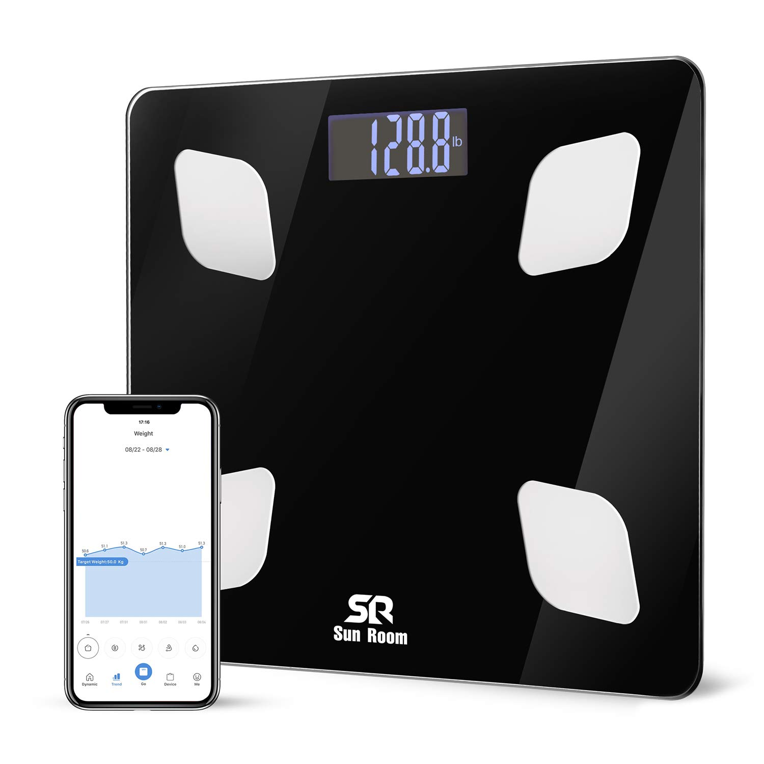 Bluetooth Body Fat Scale Wireless Digital Bathroom Weight Scale- SunRoom Smart BMI Scale with 12 Essential Measurements and FDA Approved Body Composition Analyzer, Smartphone App