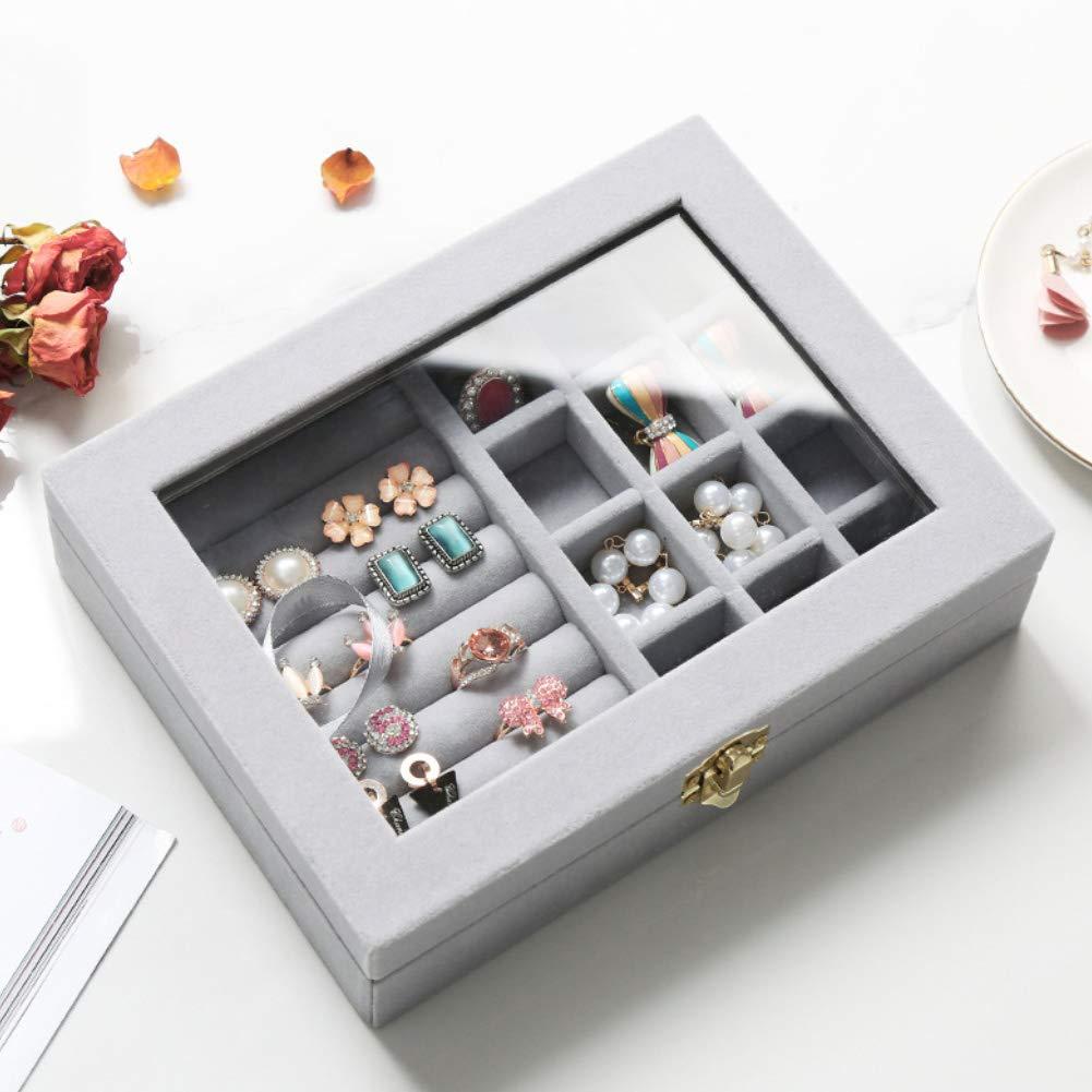 Momangel Velvet Glass Earrings Ring Display Organiser Box Holder Jewelry Box Organizer Necklace and Earring Holder for Women Trinkets and Rings 1#