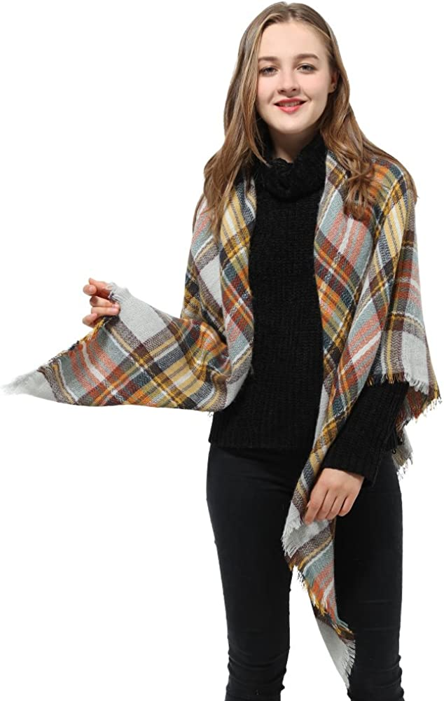 Blanket Scarf Square Plaid...