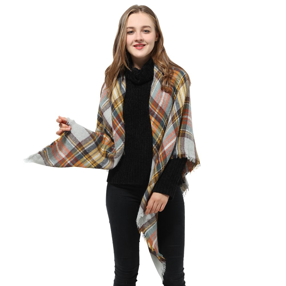 Plaid Blanket Scarf for Women Big Square Scarf Warm Tartan Winter Scarf Shawl Wrap
