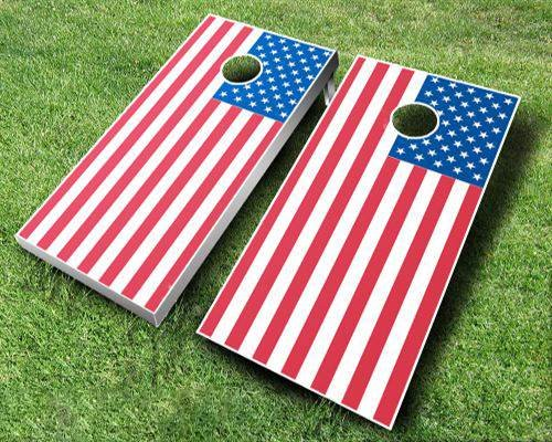 American Flag Cornhole Set, 2x4 ACA, Wood, Handmade, Portable