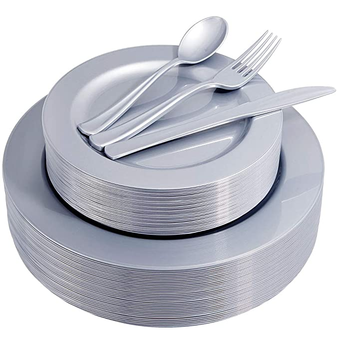 IOOOOO 180 Pieces Plastic Gray Plates with Disposable Silverware Service for 36 Guest, Unique Gray Dinnerware Includes 36 Dinner Plates 10.25