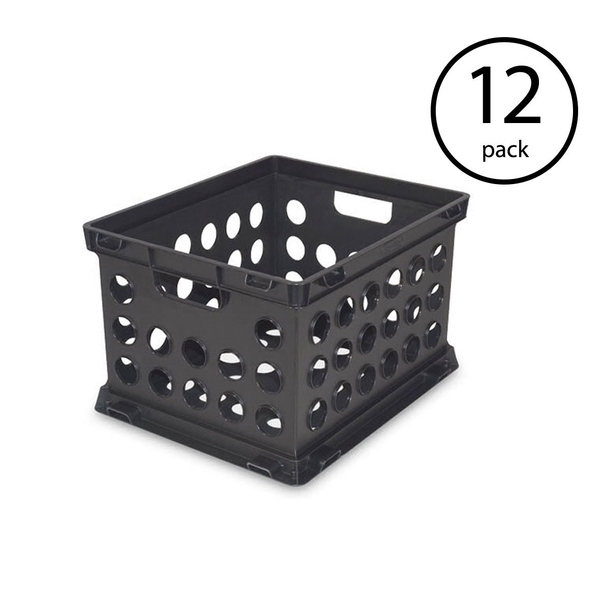 STERILITE Plastic Heavy Duty File Crate Stacking Storage (12 Pack)