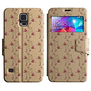 AADes Scratchproof PU Leather Flip Stand Case Samsung Galaxy S5 V SM-G900 ( Birds And Flowers )