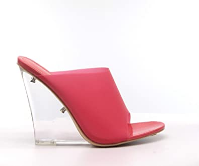 e78f2b48c1dc CAPE ROBBIN Women s Sexy Transparent Clear PVC Foot Bed Fruit Candy Wedge  Heel Mule (7