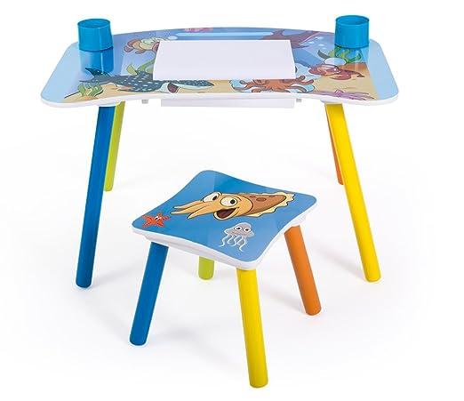 Conjunto mesa y silla niño para manualidades, diseño de peces ...
