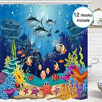 Blue Ocean Tropical Fish Coral Undersea World Shower Curtain for Bathroom, Underwater Sea animal with Starfish Bathroom Curtains Set, 70