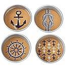 Mud Pie Anchor Mason Jar Coasters (Set of 4), Silver