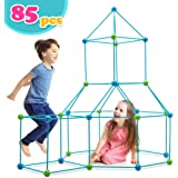 Obuby Kids Crazy Construction Fort Building Kit 85 Pieces Ultimate Forts Builder Gift Build Making Kits Toys for Boys and Girls to DIY Building Castles Tunnels Play Tent Rocket Tower Indoor & Outdoor
