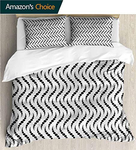 VROSELV-HOME Bedding Bedspread,Box Stitched,Soft,Breathable,Hypoallergenic,Fade Resistant Colorful Floral Print -3 Pieces-Geometric Monochrome Spiral Dots (90