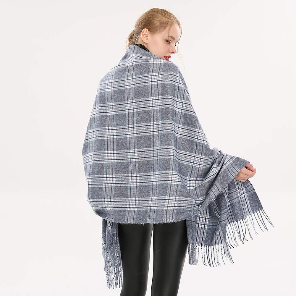 Longwu Women Soft Cashmere Wool Scarf Large Pashminas Shawl and Wrap Warm Stole Blanket Pink