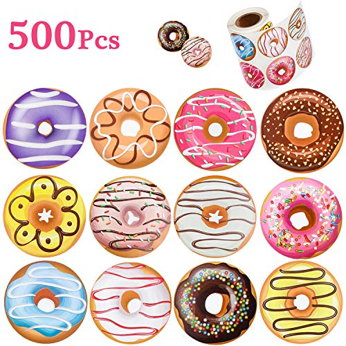 (500 Pieces 1.5 Inch Donut Stickers 12 Styles Donut Reward Roll Stickers for Kids, Birthday Party Favor Decoration, Wall, Laptop, Water Bottle, Envelopes)