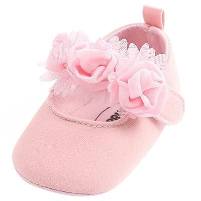 Chaussures Bébé Filles Princesse, Kolylong 2018 Nouveau-Né Bambin Fille Sandales Premiers Marcheurs Chaussures Plates de Marche en Coton Tissu Simples Avec Fausse Fleur