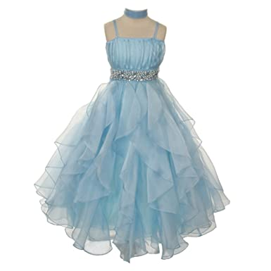 5d9657ad8 Amazon.com  Chic Baby Big Girls Baby Blue Ruffle Junior Bridesmaid ...
