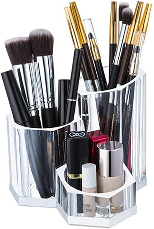 AIYoo - Soporte para brochas de Maquillaje, 3 Secciones, acrílico Transparente, Organizador de brochas de Maquillaje, Estuche de Almacenamiento para brochas de Maquillaje, Almohadillas de algodón: Amazon.es: Hogar