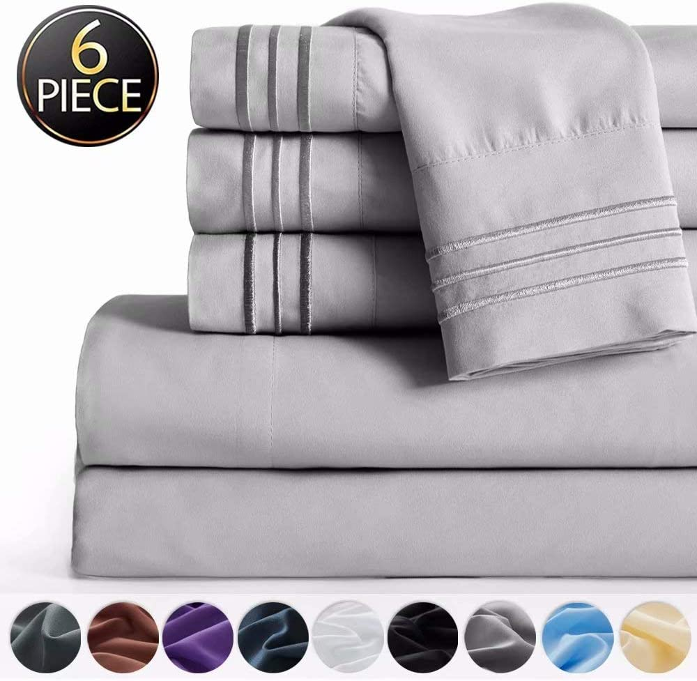 "SAKIAO -6PC Queen Size Bed Sheets Set - Brushed Microfiber 1800 Thread Count Percale - 16"" Deep Pocket Wrinkle Free & Fade Resistant - Egyptian Sheet Set (Grey,Queen)"