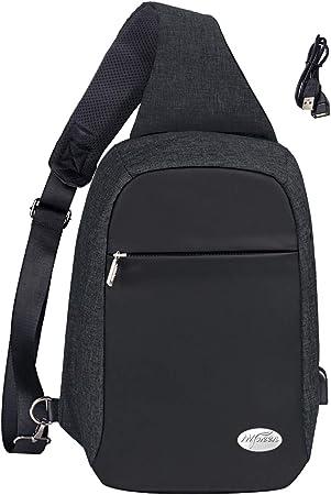 Sling Bag,Crossbody Backpack Chest Shoulder Backpack Waterproof Travel With USB