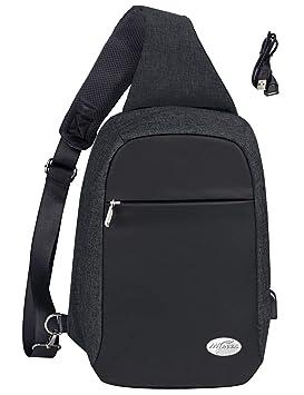 Mygreen - Bolso Bandolera antirrobo con Puerto de Carga USB para Hombres y Mujeres, Hombre, MG18309BK-UK, Negro, Large: Amazon.es: Deportes y aire libre