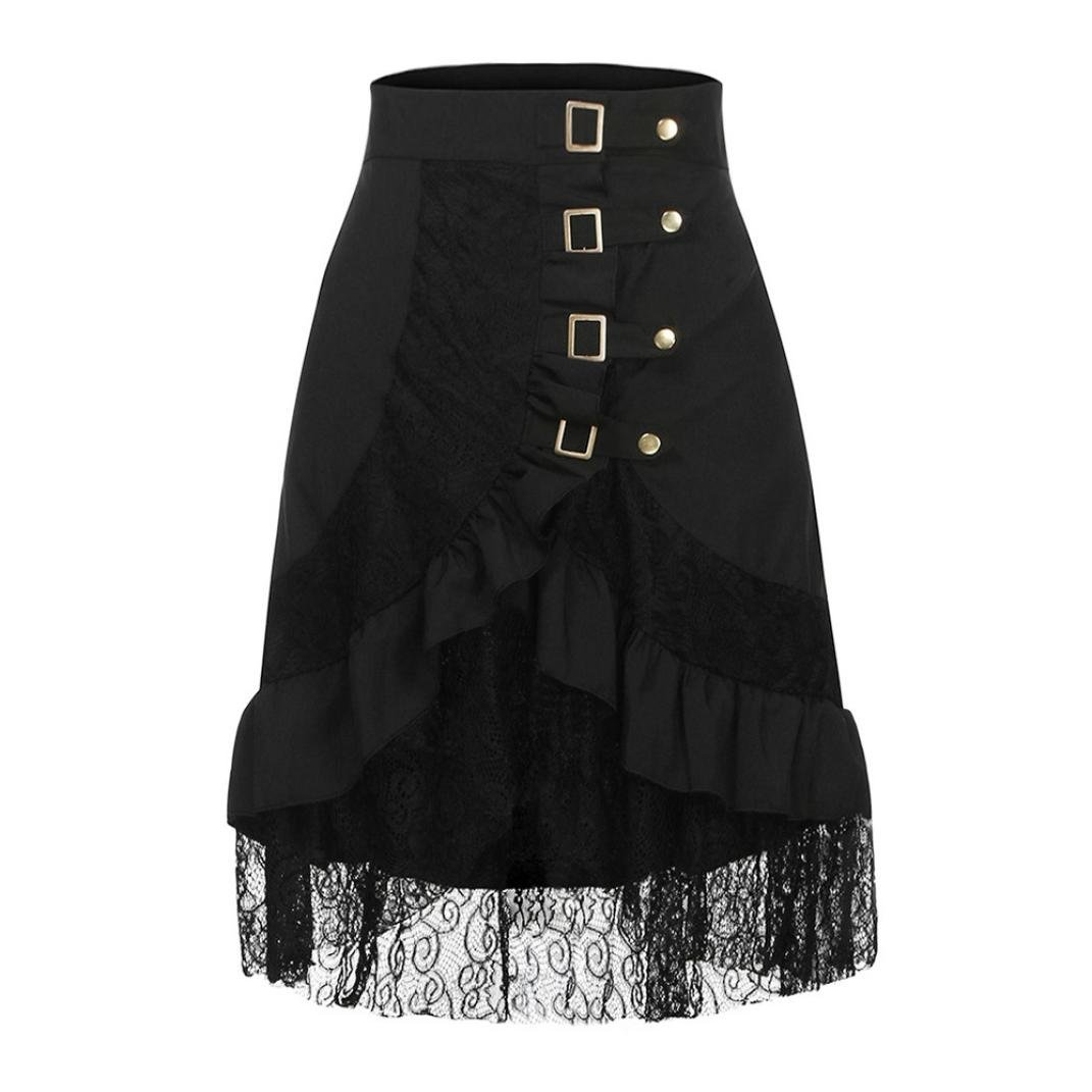 ce9fe571382 Amazon.com  FUNIC Clearance Women s Steampunk Clothing Party Clubwear Punk  Gothic Retro Black Lace Skirt  Clothing