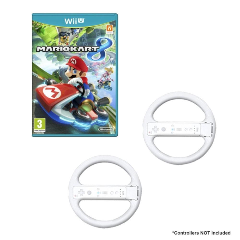 White consumer electronics Wii U Mario Kart Game Bundle with 2 Wii Wheels