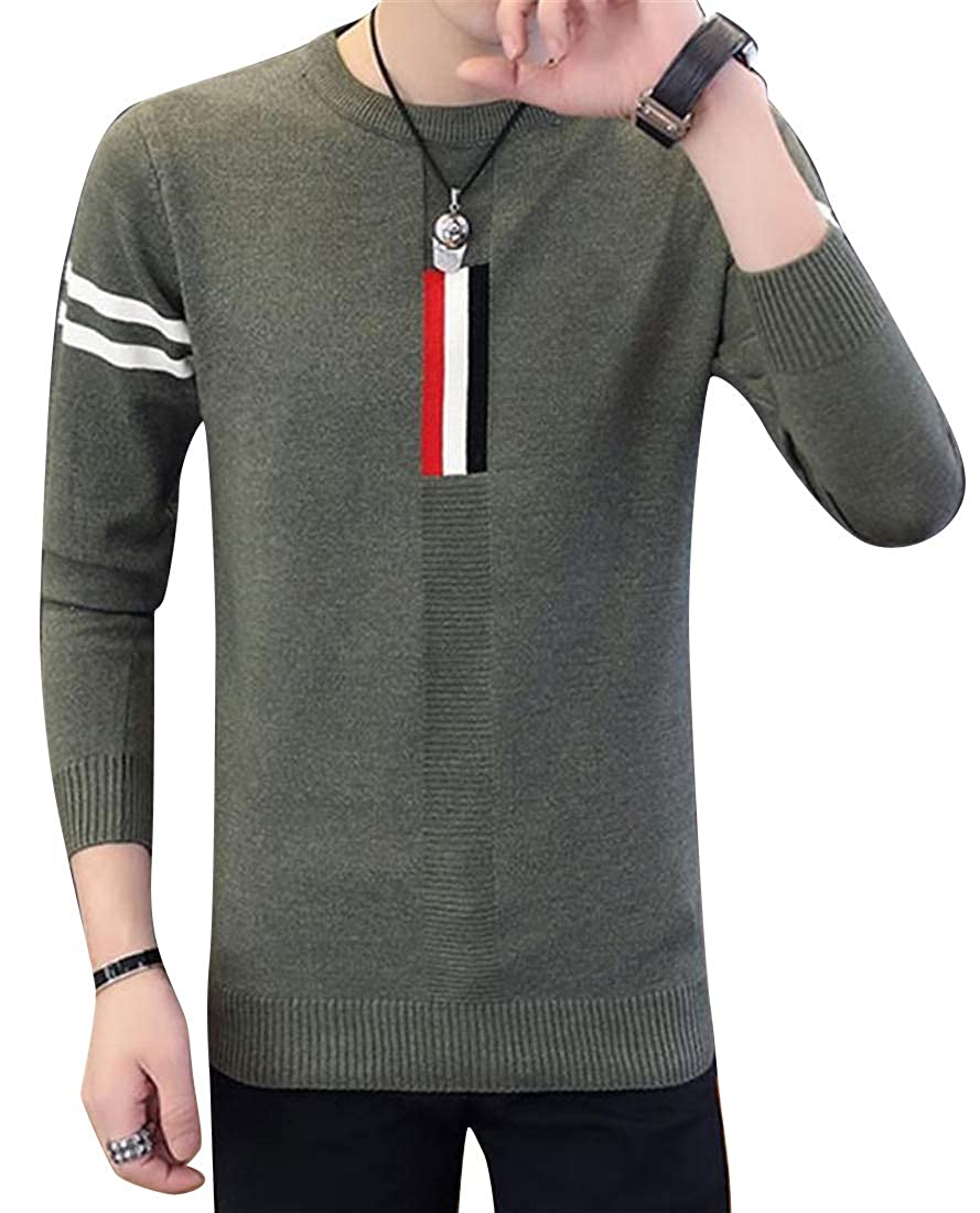 Jofemuho Mens Knit Winter Long Sleeve Round Neck Color Block Warm Pullover Sweaters