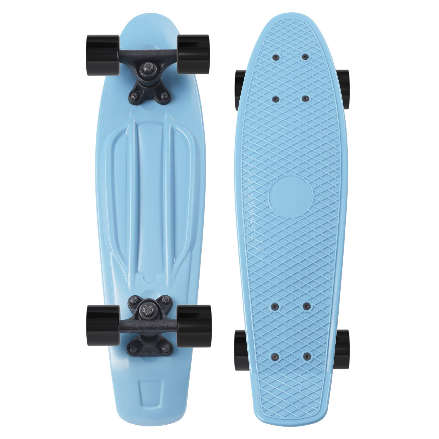 Movendless YD-0001 Quip Skateboard 22.5 Inches Classic Plastic Cruiser Skate Board, Blue