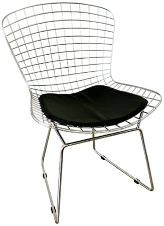 ChromeSteel/blackpad Bertoia Wire Side Chair With Leatherette Seat Pad By  Wholesale Interiors