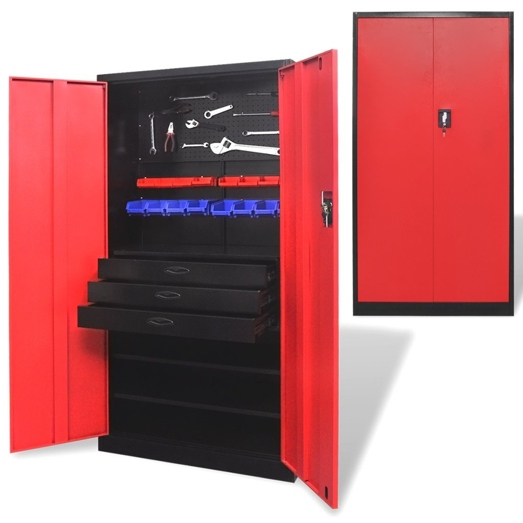 Daonanba Practical Metal Tool Storage Cabinet with Removable Tool Chest Black and Red