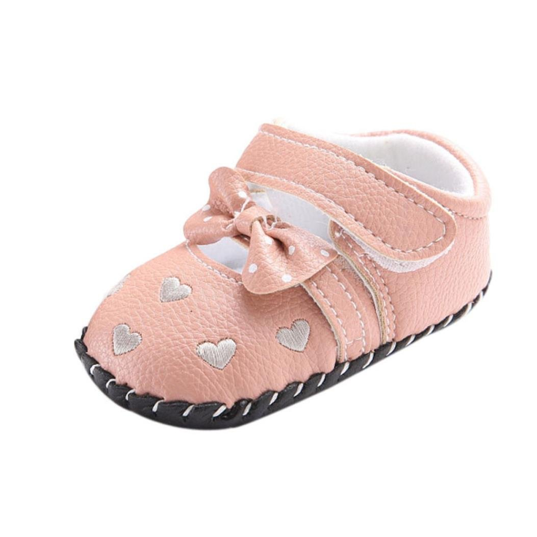 Womail HOT Newborn Baby Girls Love Embroidered Bowknot Toddler Soft Sole Shoes