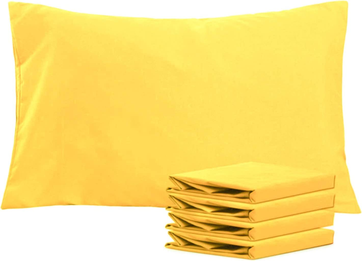 NTBAY Queen Pillowcases Set of 4, 100% Brushed Microfiber, Soft and Cozy, Wrinkle, Fade, Stain Resistant, Queen, Yellow